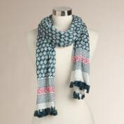 Dusty Teal and Rosy Pink Scarf with Tassels