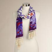 Cream and Purple Geometric Fringe Scarf