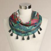 Mint Southwest Scarf with Tassels
