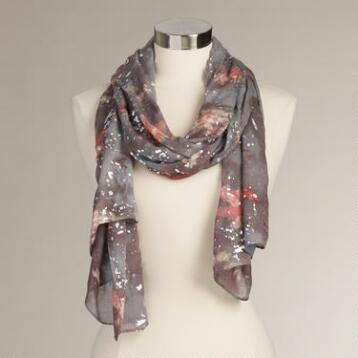 Gray Splash Scarf with Silver Foil