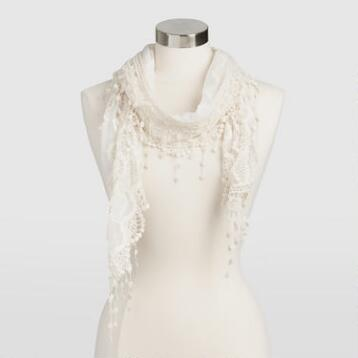 Ivory Mesh Scarf with Scalloped Fringe