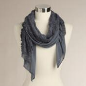Blue Lace and Jersey Scarf