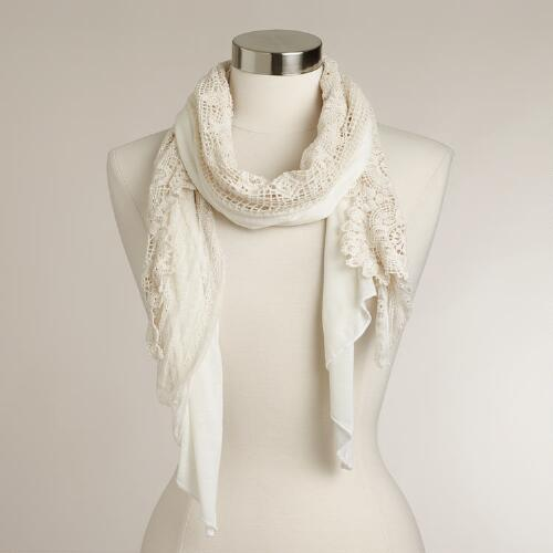 Ivory Lace Crocheted Scarf