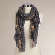 Charcoal and Gold Foil Print Scarf