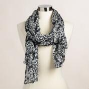 Black and White Floral Print Lurex Scarf