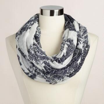 Oversized White and Navy Paisley Infinity Scarf