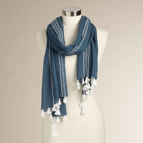 Blue and White Embroidered Scarf with Tassels
