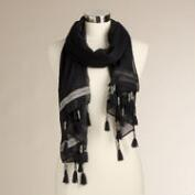 Black Scarf with Jacquard Border and Tassels