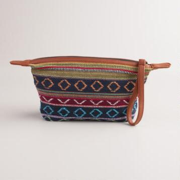 Blue Stripe Wristlet Travel Pouch