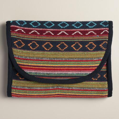 Blue Stripe Tri-Fold Cosmetic Travel Pouch