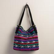 Large Multicolored Ikat Woven Bag with Suede Stripe