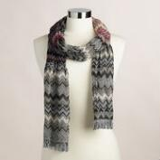 Wine and Black Jacquard Zigzag Scarf