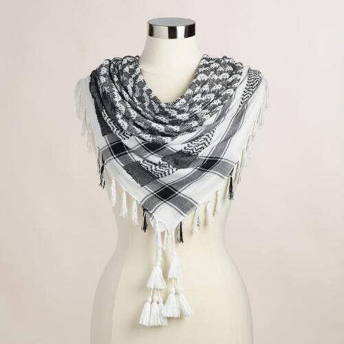 Square White and Black Scarf with Fringe and Tassels