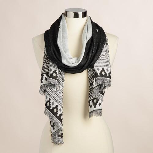 White and Black Geometric Jacquard Scarf