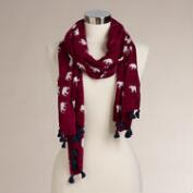Wine Elephant Scarf with Tassels