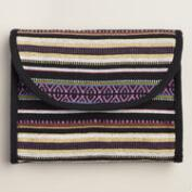Black and Purple Stripe Tri-Fold Cosmetic Travel Pouch