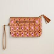 Gold and Orchid Leather Clutch