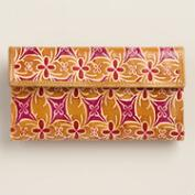 Gold and Orchid Leather Wallet