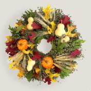 Live Fall Pumpkin and Gourd Wreath