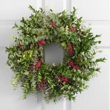 Live Festive Eucalyptus and Pepper Berry Wreath