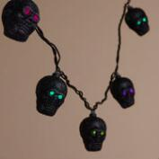 Black Glitter Skull 10-Bulb String Lights