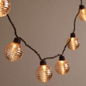 Silver Ribbed Mercury Glass Orb 10-Bulb String Lights