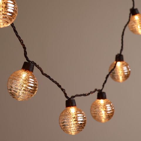 Gold Mercury String Lights : Silver Ribbed Mercury Glass Orb 10-Bulb String Lights World Market