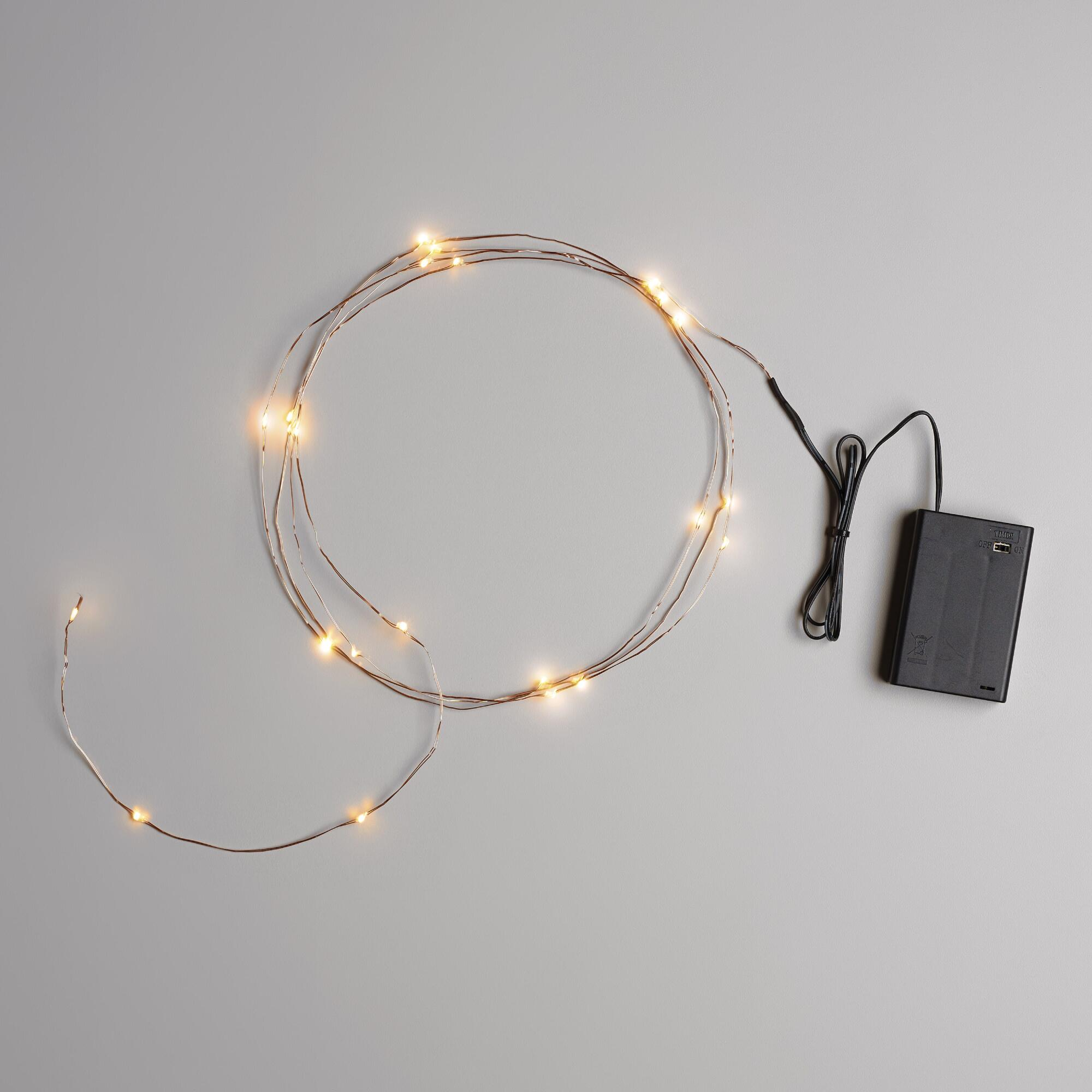 String Lights With Battery: Copper Micro LED 25-Bulb Battery Operated String Lights