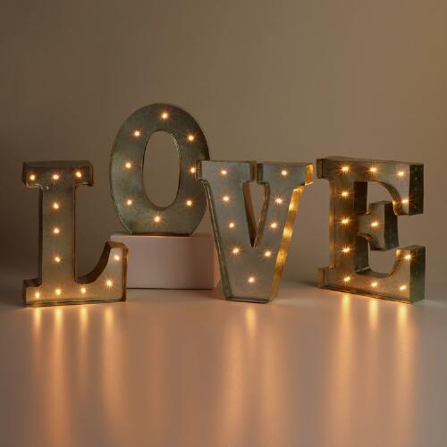 """LOVE"" Silver LED Battery Operated Marquee Lights"