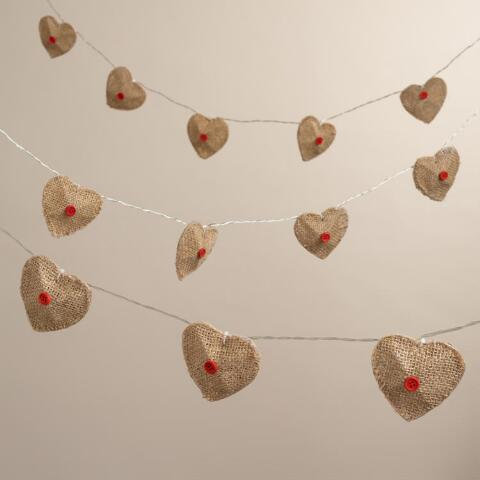 Burlap Heart 10-Bulb Battery Operated String Lights World Market