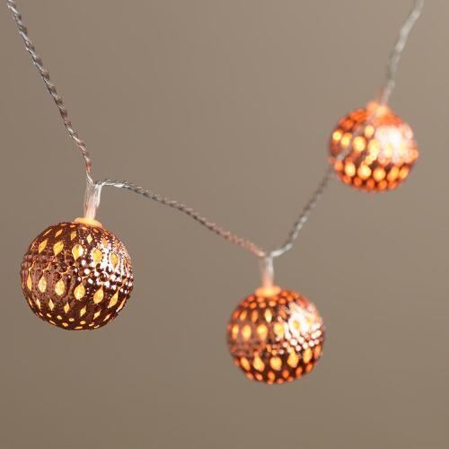 Copper Orb LED 10-Bulb Battery Operated String Lights