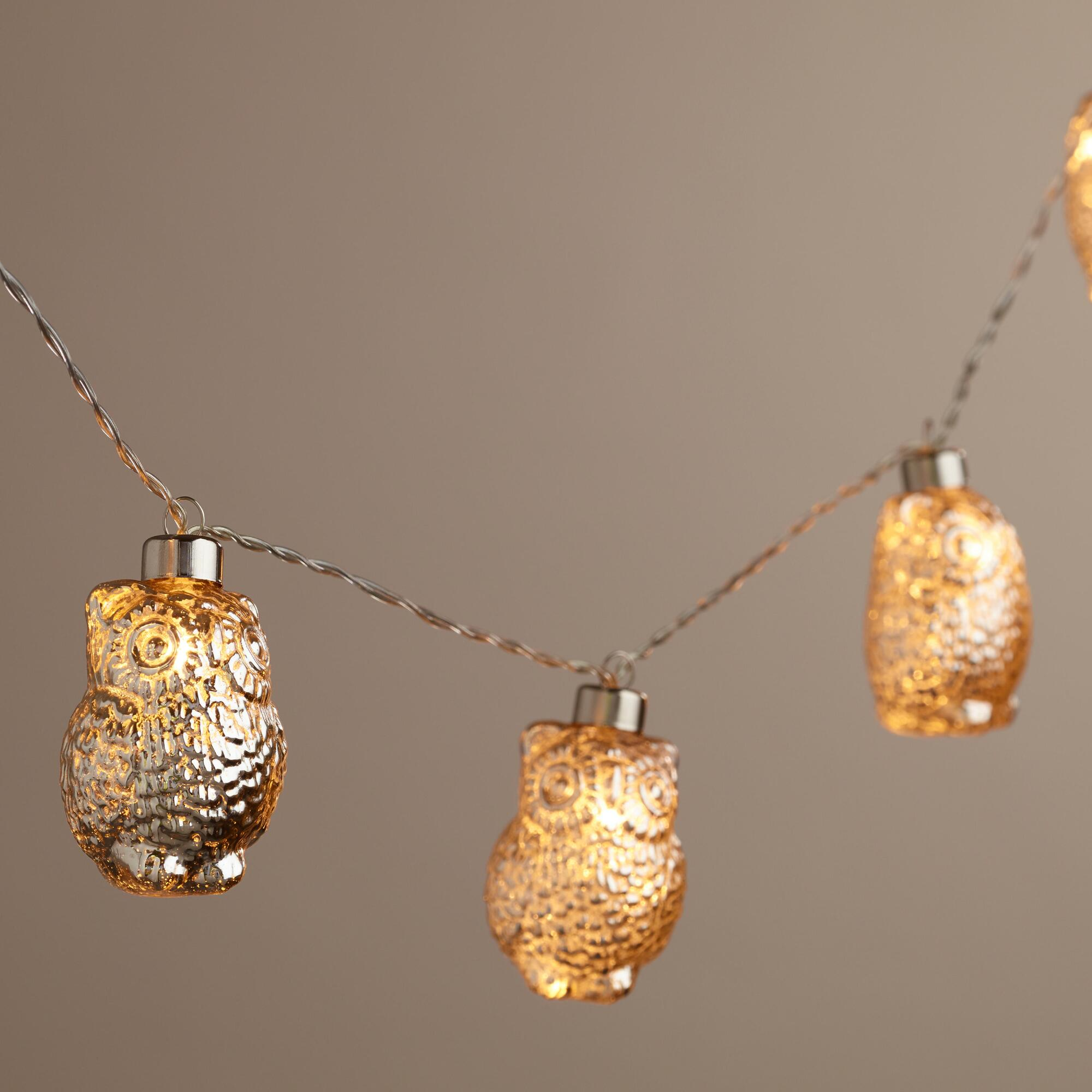 How To Make String Lights Battery Powered : Mercury Glass Owl LED 10-Bulb Battery Operated String Lights World Market