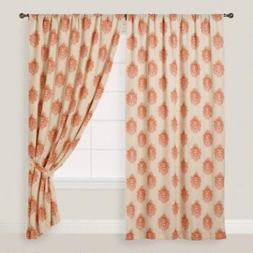 Orange Damask Concealed Tab Top Curtains, Set of 2