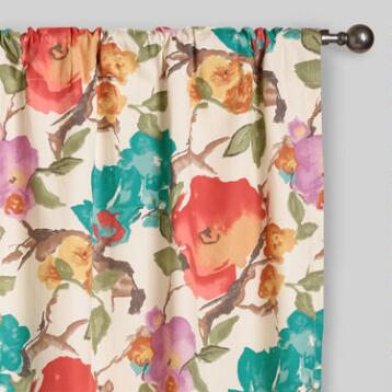 Watercolor Floral Concealed Tab Top Curtains, Set of 2