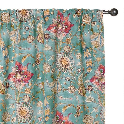 Aqua Genevieve Cotton Concealed Tab Top Curtains, Set of 2