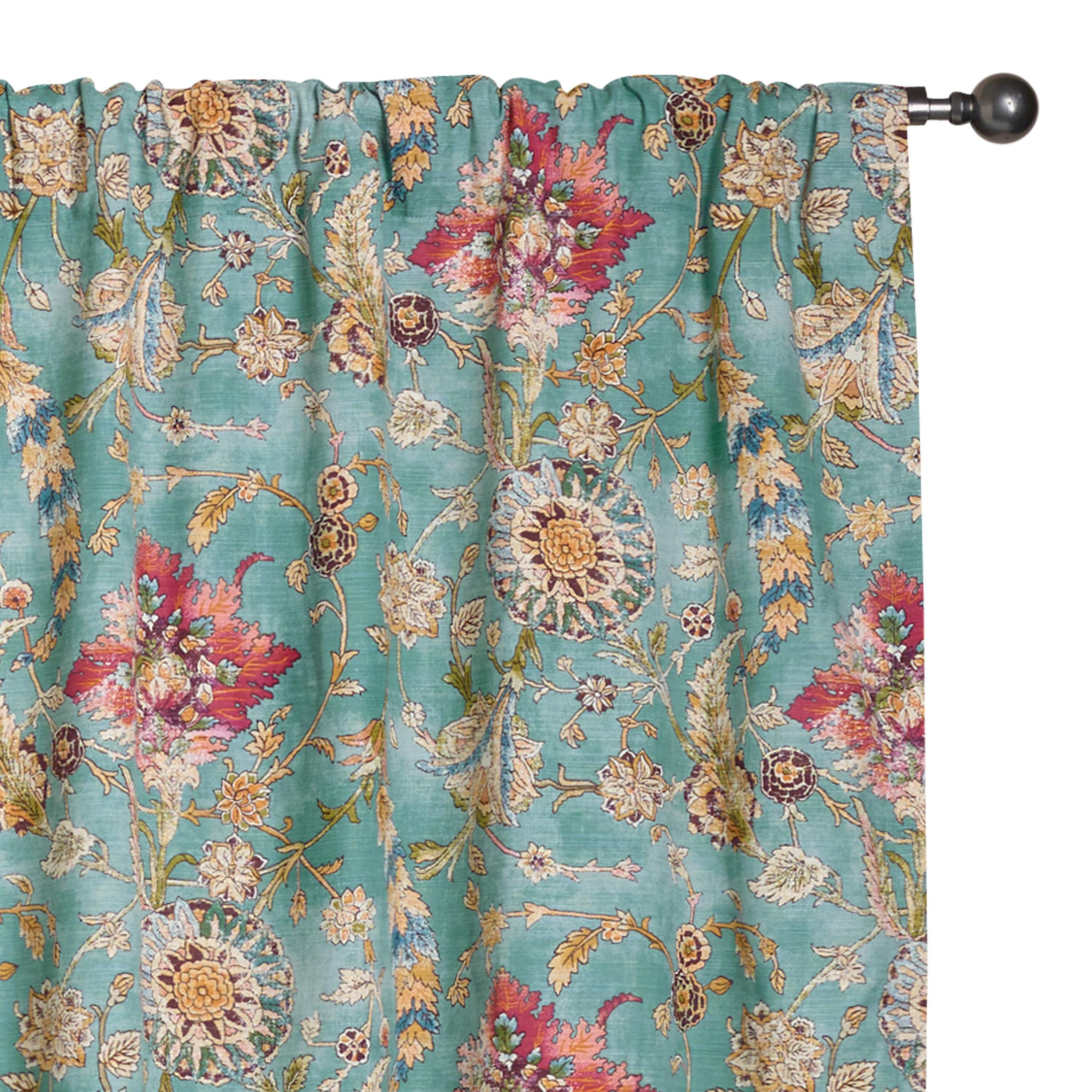 World Bazar: Aqua Genevieve Cotton Concealed Tab Top Curtains, Set Of 2