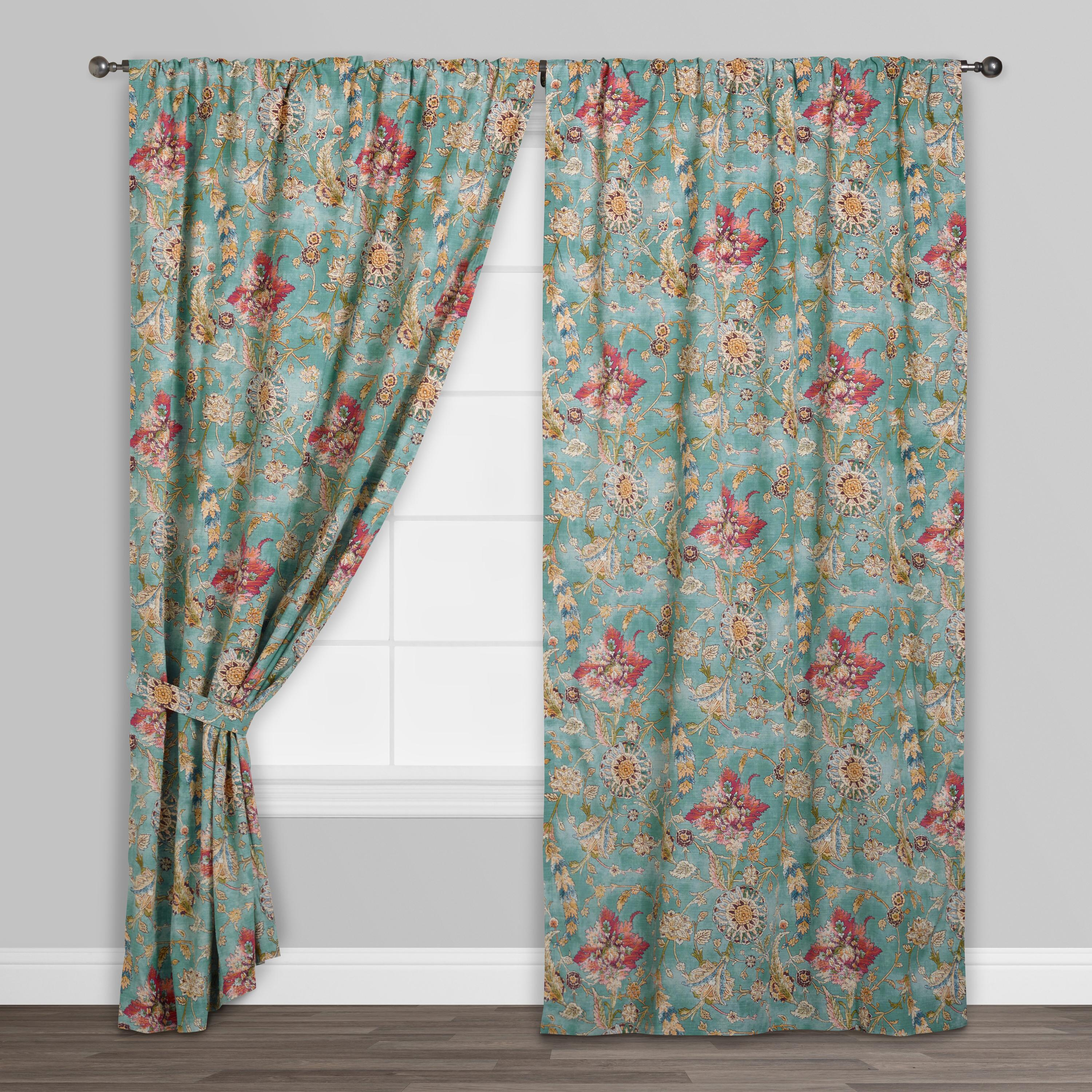 Aqua Genevieve Cotton Concealed Tab Top Curtains Set Of 2