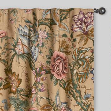 Floral Colette Cotton Concealed Tab Top Curtains, Set of 2