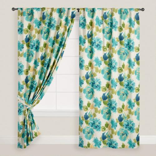 Watercolor Venetzia Concealed Tab Top Curtains, Set of 2