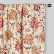 Coral and Pink Floral Eva Concealed Tab Top Curtains, Set of