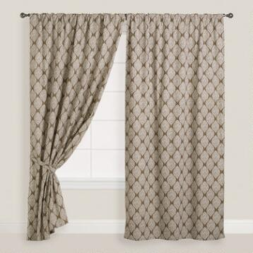 Taupe and Ivory Bhuti Print Concealed Tab Top Curtains, Set
