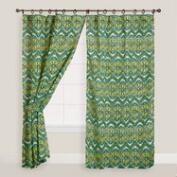 Green Bohemian Jute Wood Ring Curtains, Set of 2