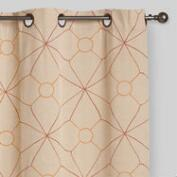 Geo Chambray Grommet Top Curtains, Set of 2