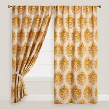 Flocked Claudia Concealed Tab Top Curtains, Set of 2