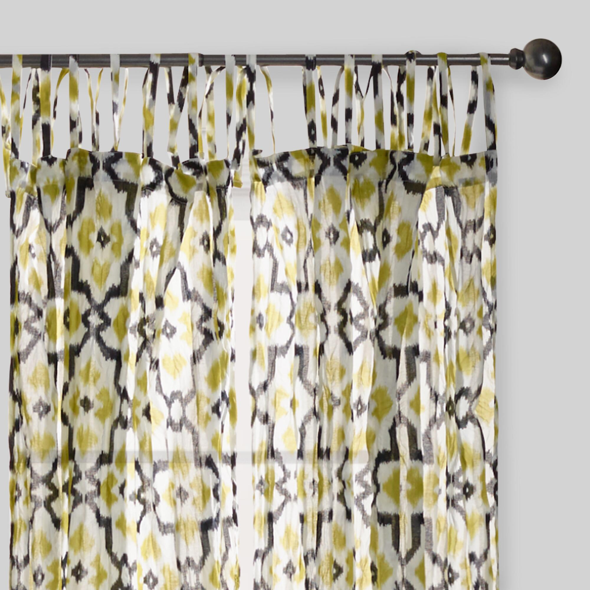 Green And Black Geo Crinkle Voile Tie Top Curtains Set Of