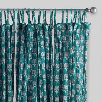 Aqua Medallion Crinkle Voile Curtains, Set of 2