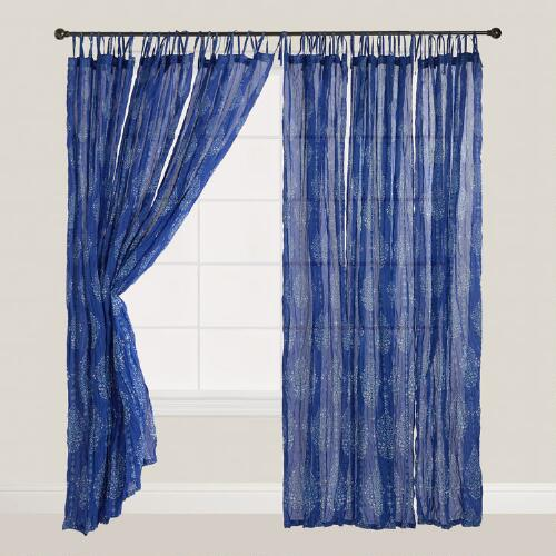Blue Mosaic Crinkle Sheer Voile Curtains, Set of 2