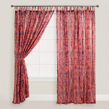 Bird Print Crinkle Voile Curtains, Set of 2