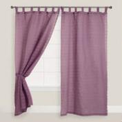 Purple Striped Sahaj Jute Tab Top Curtains, Set of 2
