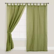Green Striped Sahaj Jute Tab Top Curtains, Set of 2
